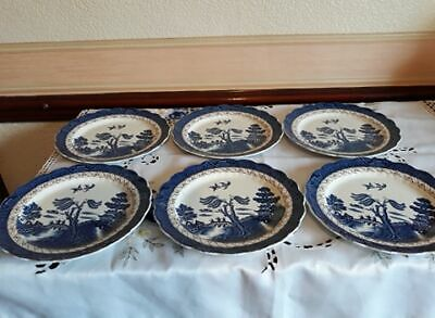 Booths 'Real Old Willow' 6 X Starter Plates A8025 With Fluted Edges Lovely • 15£