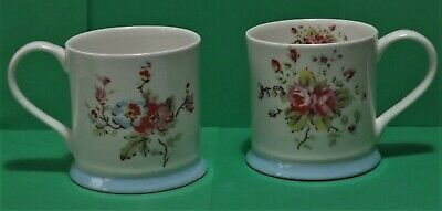 2 Cath Kidston Queens Small China Mugs Rose Pattern .... NEW • 10.50£