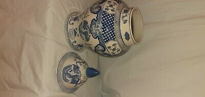 Replica Chinese Blue And White Temple Jar With Lid (Good Condition) • 22.50£