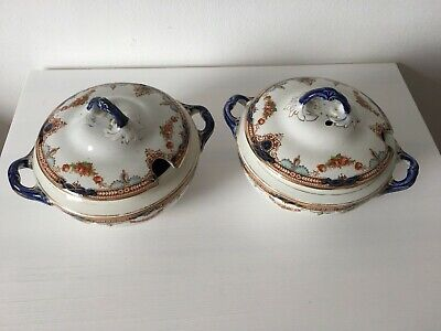 VINTAGE OPAQUE CHINA S. HANCOCK & SONS 'BELMONT' SMALL TUREENS X 2 WITH LIDS • 7.99£