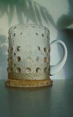 Rare 70s Vintage Textured Wedgwood Glass Tankard In Topaz By Ronald Stennett-Wil • 22£