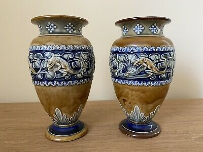 Pair Of Royal Doulton Lambeth Vases One A/F. • 50£
