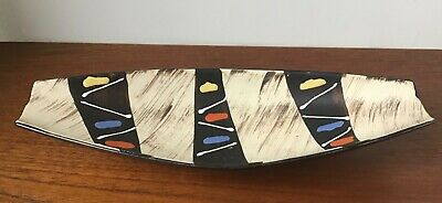 Vintage Atomic 1950s Hand Painted Footed Dish • 28£