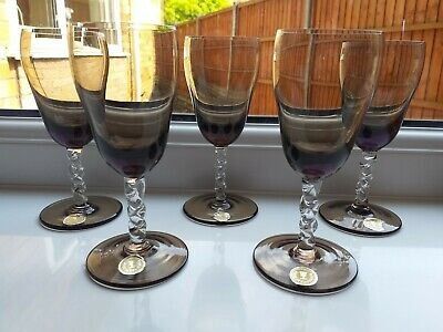 Set Of Five Vintage Roumania Smoky Barley Twist Stem Sherry/Aperitif Glasses • 6.99£