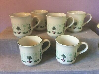 6 X STAFFORDSHIRE TABLEWARE Pottery TOPIARY Pattern MUG Immaculate Condition • 24£