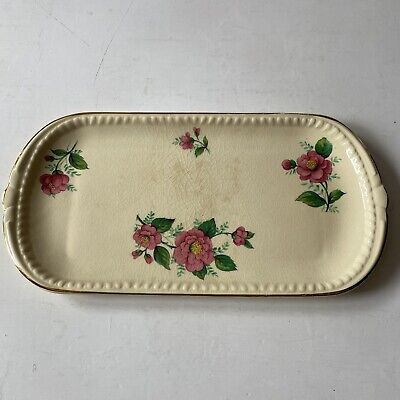 Swimmertons Staffordshire England Harvest Yellow Pink Rose Rectangle Plate SH8 • 10£