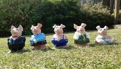 NATWEST Pig Moneyboxes, Full Family Set Of 5 Pigs, WADE, 4Original Stoppers • 21£