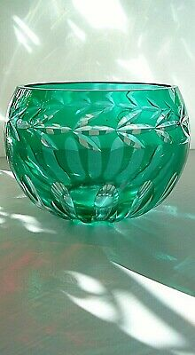 PORTMEIRION Glass Bowl In Green Cut To Clear. • 15£