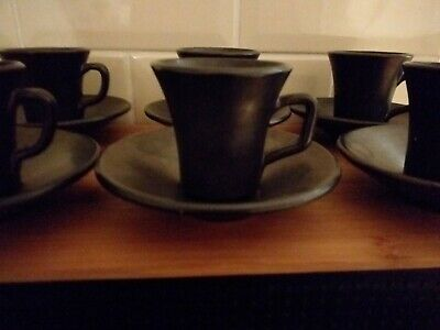 Mid Century Prinknash Pottery Twelve Piece Pewter Lustre Espresso Coffee Set • 9.99£
