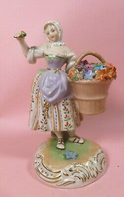 Dresden Antique Figure Of A Lady With Basket Of Flowers - Perfect  • 9.30£