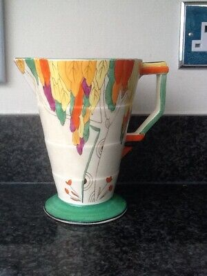 ART DECO Hand-painted Jug / Pitcher - W H Grindley & Co. Green, Yellow, Orange • 29£