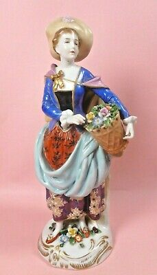 SAMPSON PORCELAIN FIGURE OF AN 18th CENTURY LADY WITH BASKET OF FLOWERS - MINT • 11.50£