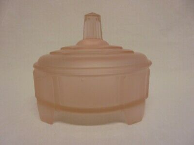 Art Deco Pink Frosted Glass Dressing Table Trinket Box Powder Bowl Vintage • 11.99£