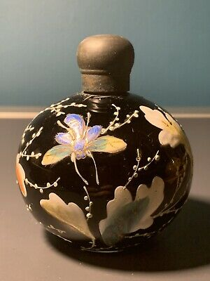 Art Nouveau Era Hand Painted Perfume Bottle Black Glass Insects & Foliage • 45£