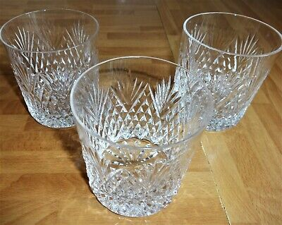 Royal Brierley Cut Crystal Whisky Tumblers Spirit Glasses X 3 Signed • 19.99£