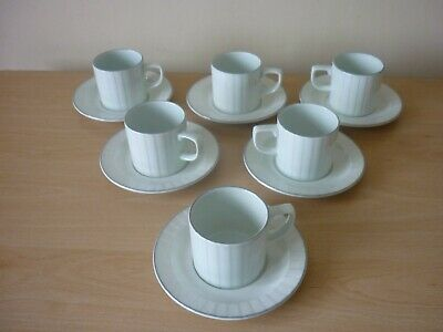 Poole Pottery Set Of 6 Coffee Cups & Saucers - Mint Green - Mint Condition. • 12.99£