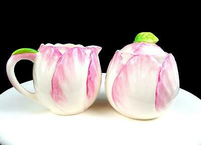 Bombay Co Porcelain #bma12 Pink Floral Shaped 3 3/4  Creamer And Sugar Bowl 1992 • 29.57£