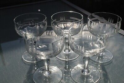 Set Of 5 Vintage Art Deco Cut & Etched Glass Champagne Glasses Coupes Cocktail • 27.95£