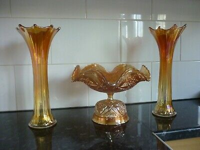 Carnival Ware Fruit Bowl & Pair Of Vases - House Clearance  • 29£