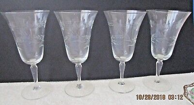 4 Floral Wheel Cut Tall Wine Glasses Unknown Maker • 10.79£