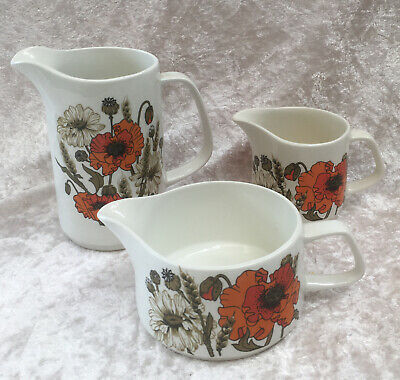 3x J & G Meakin Studio Pottery Poppy Jugs - Milk-Gravy-Pint  • 10£