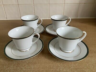 Boots Hanover Green - 4 X Cups And Saucers Excellent Condition • 20£