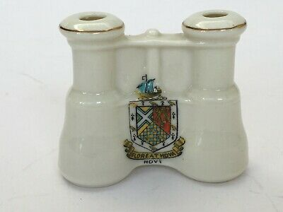 Vintage Crested China Souvenir Binoculars Hove Brighton Sussex Arcadian • 7.99£