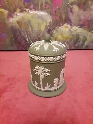 WEDGWOOD GREEN JASPERWARE Jam Pot With Lid Excellent Condition RARE VINTAGE 60s. • 16£