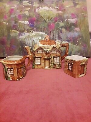KEELE STREET POTTERY COTTAGEWARE Tea Pot Milk Jug & Sugar Bowl Set VGC • 15£