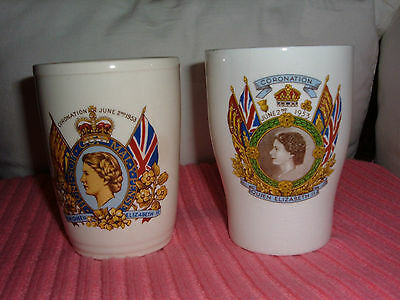 H.M.QUEEN ELIZABETH II CORONATION 2nd June 1953 COMMEMORATIVE CHINA TUMBLERS  • 4.49£