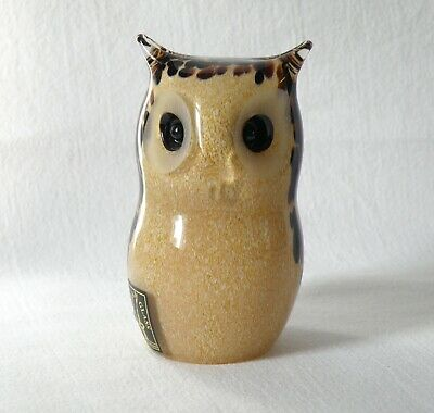 Langham Art Glass Spotted Brown Owl Paperweight. Hand Made. Original Label.  • 19.99£