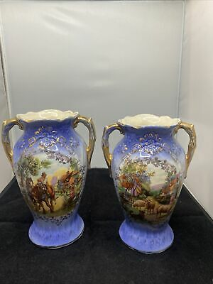 Victorian  Vase Pair. English  19cm High Farm Scenes  • 7.50£