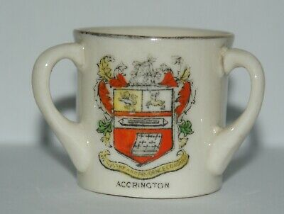 CRESTED CHINA – 3 HANDLED CUP ACCRINGTON UNMARKED 4.5 Cm Tall 4 Cm Diam.  • 1.99£