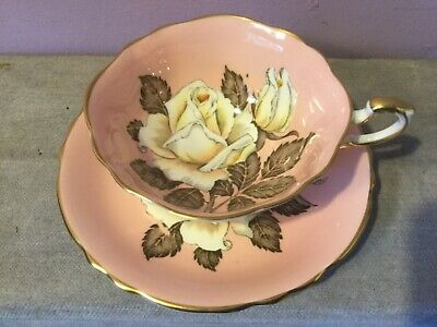 Vintage PARAGON Bone China CABINET CUP & SAUCER Floating WHITE ROSE / Pink DUO A • 255£