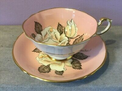 Vintage PARAGON Bone China CABINET CUP & SAUCER Floating WHITE ROSE / Pink DUO B • 102£