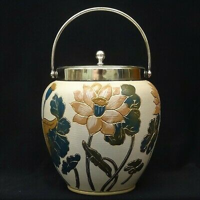 Antique LOVATT & LOVATT Langley Ware BISCUIT BARREL, EPNS Mounts, 1900-05 • 56£