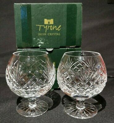 A Pair Of Tyrone Crystal Brandy Glasses Hand Cut In The Antrim Pattern • 24.99£