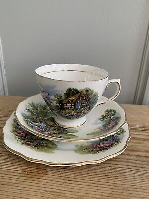 Royal Vale Vintage Tea Cup Trio Pretty English Cottage Theme VGC • 9.99£