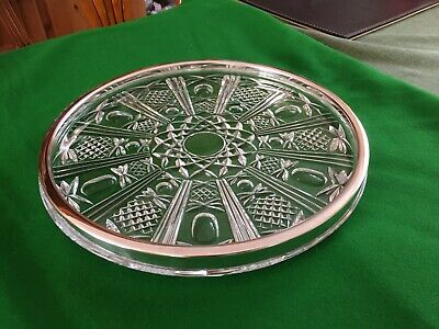 Edwardian Cut Glass Dish With Silver Plated Rim  • 8.50£
