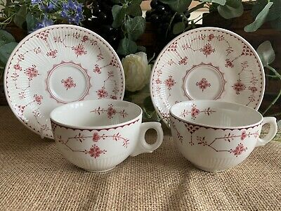 Furnivals Denmark Red / Pink  Breakfast Cups & Saucers  (Large Teacups) • 18£