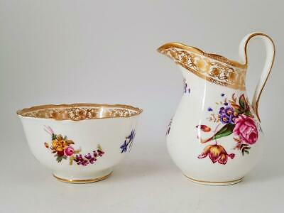 Hammersley Porcelain Dresden Sprays 12673 Floral Milk Jug Creamer & Sugar Bowl • 25£
