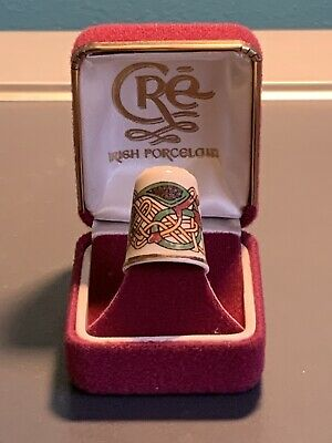 Vintage Celtic Design Thimble By Irish Porcelain Company Cre In Original Box • 10£