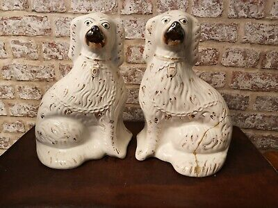 Antique / Vintage Large Dogs Ceramic Porcelain Vintage Pair Wally Fireside H32cm • 45£