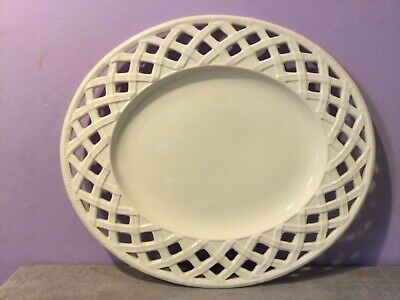 "HARTLEY-GREENS & Co LEEDS CREAMWARE PIERCED LATTICE OVAL SERVING PLATE 12.5"" • 15£"