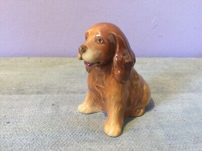 Vintage BRANKSOME CHINA Pottery Sitting COCKER SPANIEL DOG FIGURINE • 12£