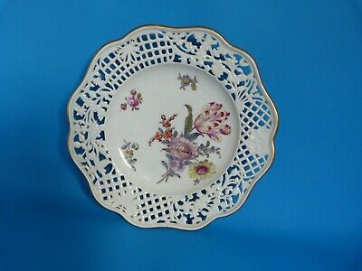 Antique 19thc Meissen Hand Painted Plate With Reticulated Border Of Flowers • 12.50£