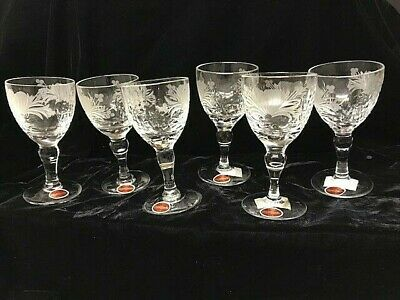 6 X NEW ROYAL BRIERLEY HONEYSUCKLE CRYSTAL WINE GLASSES WITH LABELS - BOXED • 70£