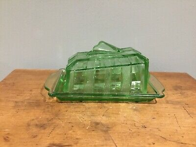 Vintage Uranium Glass Butter Cheese Dish And Lid • 28£