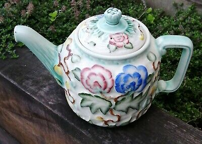 Antique Vintage H J Wood Indian Tree Teapot Blue Red Yellow Green White • 4.99£
