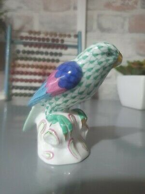 Herend Hungary Hand-painted Green Fishnet Perched Parrot Figurine • 17.50£